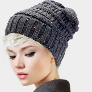 Knit confetti beanie winter hat skully charcoal